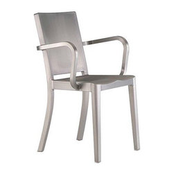 """Emeco - Hudson Armchair - Originally designed for Ian Schrager's Hudson Hotel in New York City, the Hudson Collection (2000) combines the contemporary styling of Philippe Starck with Emeco's classic 1944 naval-ready form and 77-step construction. When asked about the collaboration, Starck replied, """"Working with Emeco has allowed me to use a recycled material and transform it into something that never needs to be discarded - a tireless and unbreakable chair to enjoy for a lifetime. It is a chair you never own, you just use it for a while until it is the next person's turn."""" Hudson is made by hand, using 80% recycled aluminum and finished in either a highly polished or brushed surface. The Hudson Chair is included in the design collection at MoMA and received the 2000 Good Design Award from the Chicago Athenaeum. Hudson chairs and stools come with a lifetime guarantee, contribute to LEED™ credits and can be used indoors or out. Made in U.S.A."""