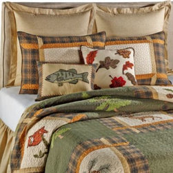 C & F Enterprises, Inc. - Forest Friends Quilt - Transform your bedroom into a welcoming wilderness retreat with the Forest Friends quilt. This richly textured bedding features a patchwork of forest friends embroidery that gives this quilt a playful outdoors touch.