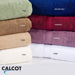 Calcot - Calcot Supima Zero Twist Foldover Edging Cotton Bath Sheet (Set of 2) - Give your bathroom a touch of elegance and color with these cotton bath sheets. The set of two oversized bath towels feature zero-twist towel construction that provides exceptional absorbency and fold-over edging for superior durability.
