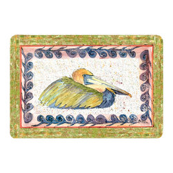 Caroline's Treasures - Bird - Pelican Kitchen Or Bath Mat 24X36 - Kitchen or Bath COMFORT FLOOR MAT This mat is 24 inch by 36 inch.  Comfort Mat / Carpet / Rug that is Made and Printed in the USA. A foam cushion is attached to the bottom of the mat for comfort when standing. The mat has been permenantly dyed for moderate traffic. Durable and fade resistant. The back of the mat is rubber backed to keep the mat from slipping on a smooth floor. Use pressure and water from garden hose or power washer to clean the mat.  Vacuuming only with the hard wood floor setting, as to not pull up the knap of the felt.   Avoid soap or cleaner that produces suds when cleaning.  It will be difficult to get the suds out of the mat.