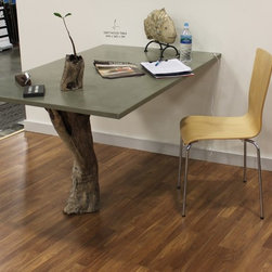 """Concrete & Driftwood Table at the Miami Home and Remodeling Show - Glass Fiber Reinforced Concrete, Natural Grey, Top: 36"""" x 54"""",  Satin Finish"""