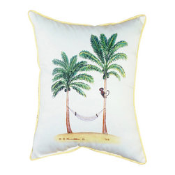 Betsy Drake - Betsy Drake Monkey and Palm Pillow- Indoor/Outdoor - Monkey and Palm Pillow- Large indoor/outdoor pillow. These versatile pillows are equal at enhancing your homes seaside decor and adding coastal charm to an outdoor setting arrangment. They feature printed outdoor, fade resistant fabric for years of wear and enjoyment. Solid back, polyfill. Proudly made in the USA.