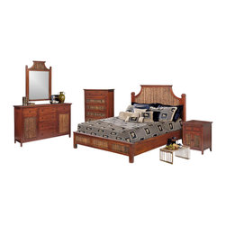 Seawinds Trading - Fiji Tropical Rattan and Wicker 5 Piece Bedroom Set - Shipping Note: This 5 piece collection ships within 2 to 5 days of ordering.