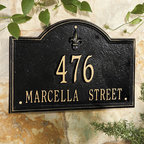 "Ballard Designs - Ballard Fleur-de-lis Two Line Estate Address Wall Sign - For One Line, Specify up to five 5 1/2"" numbers. For Two Lines, Specify up to five 4"" numbers for top line, up to sixteen 1 3/4"" characters for bottom line.*Allow 3 to 5 days for monogramming plus shipping time.*Please note that personalized items are non-returnable."