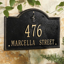"""Ballard Designs - Ballard Fleur-de-lis Two Line Estate Address Wall Sign - For One Line, Specify up to five 5 1/2"""" numbers. For Two Lines, Specify up to five 4"""" numbers for top line, up to sixteen 1 3/4"""" characters for bottom line.*Allow 3 to 5 days for monogramming plus shipping time.*Please note that personalized items are non-returnable."""