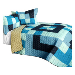 Blancho Bedding - Ocean Star 3PC Vermicelli-Quilted Patchwork Quilt Set-Queen - The [Ocean Star] 3PC Vermicelli-Quilted Patchwork Quilt Set (Full/Queen Size) includes a quilt and two quilted shams. This pretty quilt set is handmade and some quilting may be slightly curved. The pretty handmade quilt set make a stunning and warm gift for you and a loved one! For convenience, all bedding components are machine washable on cold in the gentle cycle and can be dried on low heat and will last for years. Intricate vermicelli quilting provides a rich surface texture. This vermicelli-quilted quilt set will refresh your bedroom decor instantly, create a cozy and inviting atmosphere and is sure to transform the look of your bedroom or guest room. (Dimensions: Full/Queen quilt: 90.5 inches x 90.5 inches; Standard sham: 24 inches x 33.8 inches)