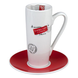 Konitz - Latte Macchiato Amore Mio Cup and Saucer Set - Stylish and slim, this cup and saucer set is made specifically for your café latte habit. The tall, porcelain glass provides enough room for you to add the frothy milk to your espresso in just the right proportions.