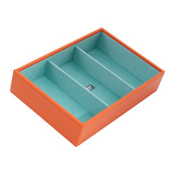 WOLF - Stackables Medium Deep Tray, Orange - A vibrant, colorful combination of jewelry and accessory storage trays. Available in purple, aqua, yellow, and orange with contrasting fabric lined interiors they're perfect for organizing all of your jewelry and accessories! Each piece is sold separately and is designed to be mixed, matched and stacked to meet your individual storage needs.