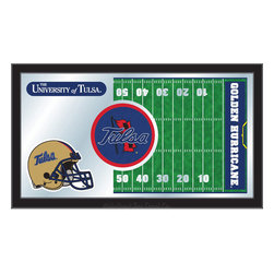 """Holland Bar Stool - Holland Bar Stool Tulsa Football Mirror - Tulsa Football Mirror belongs to College Collection by Holland Bar Stool The perfect way to show your school pride, our Football Mirror displays your school's symbols with a style that fits any setting.  With it's simple but elegant design, colors burst through the 1/8"""" thick glass and are highlighted by the mirrored accents.  Framed with a black, 1 1/4 wrapped wood frame with saw tooth hangers, this 15""""(H) x 26""""(W) mirror is ideal for your office, garage, or any room of the house.  Whether purchasing as a gift for a recent grad, sports superfan, or for yourself, you can take satisfaction knowing you're buying a mirror that is proudly Made in the USA by Holland Bar Stool Company, Holland, MI.   Mirror (1)"""