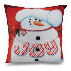 Zeckos - Red and White Snowman Joy Holiday Throw Pillow 16 in. - Beautifully accent your home for the Holidays, or any time of year with this 100% polyester throw pillow featuring a vivid image of an adorable snowman wearing a furry hat and the word 'JOY' strung from arm to arm in candy cane colors! This elegant 16 inch by 16 inch (41 X 41 cm) pillow boasts a durable printed front cover, and a linen look backing with a zipper on the bottom to easily remove the cover for cleaning when necessary. Highlight your sofa, chair or bed with winter spirit that is also great as a gift any snowman collector is sure to enjoy!