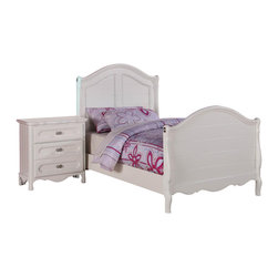 Homelegance - Homelegance Hayley 2-Piece Kids' Panel Bedroom Set in White - Country styling lends itself beautifully to the Hayley collection. Slat paneling is framed on the sleigh headboard and footboard and features an elegant medallion accent on each side. The white finish gives the collection a fresh look perfect for a child's or guest bedroom.