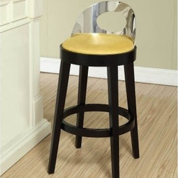Armen Living Vista Bar Stool - Yellow - 30 in. - The Armen Living Vista Bar Stool in Yellow will amaze your family and guests with your unique style and taste with this modern stool. Special features call out the unique mustard yellow color seat microfiber fabric upholstery the the low back polished steel back with a cut out center. Base and legs are wood with a black finish. Seat is stationary with no swivel. Thick circular footrest plus feet protectors for your floor. Stool dimensions: 22.5W x 25.5D x 37H inches seat height: 30 inches. Rise above the norm with this unique choice. About Armen LivingImagine furniture without limits - youthful robust refined exuding self-expression at every angle. These are the tenets Armen Living's designers abide by when creating their modern furniture collections. Building on more than 30 years of industry experience Armen Living combines functional versatility and expert craftsmanship into their dramatic furniture styles all offered at price points fit for discriminating budgets. Product categories include bar stools club chairs dining tables ottomans sofas and more. Armen Living is based in Sun Valley Calif.