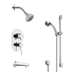 Remer - Contemporary Round Tub and Rain Shower Faucet with Slide Rail - Multi function tub and shower faucet.