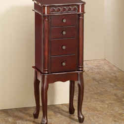 """Coaster - Jewelry Armoire, Cherry - Detailed carvings, stylish cabriole legs and decorative drawer knobs make this piece a beautiful addition to any room.; Finish/Color: Cherry; Dimensions: 13""""L x 9""""W x 35""""H"""
