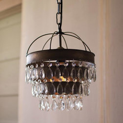 Country Queen Chandelier - A little country and a little glam, this chandelier adds remarkable style wherever you hang it. Bask in its sweet, but edgy contrast of antiqued metal and prismatic layered crystal.