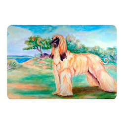 Caroline's Treasures - Afghan Hound Kitchen Or Bath Mat 20X30 - Kitchen or Bath COMFORT FLOOR MAT This mat is 20 inch by 30 inch.  Comfort Mat / Carpet / Rug that is Made and Printed in the USA. A foam cushion is attached to the bottom of the mat for comfort when standing. The mat has been permenantly dyed for moderate traffic. Durable and fade resistant. The back of the mat is rubber backed to keep the mat from slipping on a smooth floor. Use pressure and water from garden hose or power washer to clean the mat.  Vacuuming only with the hard wood floor setting, as to not pull up the knap of the felt.   Avoid soap or cleaner that produces suds when cleaning.  It will be difficult to get the suds out of the mat.