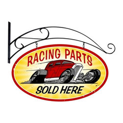 Past Time Signs - Racing Parts Double Sided Oval Tin Sign with Wall Mount 24 x 24 Inches - - Width: 24 Inches