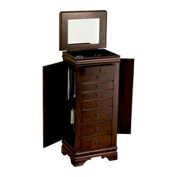 Powell - Powell Louis Philippe Marquis Cherry Jewelry Armoire - Jewelry Armoire belongs to Louis Philippe Collection by Powell Free-standing jewelry armoire in Marquis Cherry finish is accented with classic Louis Philippe features. Flip-top mirror opens to a lined and divided jewelry compartment. Touch latch side doors swing open to reveal necklace hangers. Eight lined drawers for jewelry and accessories. Lining is plush black and drawer pulls are shaped as a shield of honor in antique brass finish. Minimal assembly, attach top only.  Jewelry Armoire (1)