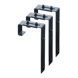 Mayne Inc. - Mayne Adjustable Deck Rail Bracket 3-pack - Accent your porch or deck railing with a Mayne window box. The adjustable deck rail brackets simply bolt to your existing window box brackets for an easy installation over a 2x4 or 2x6 wood railing. Black powder coated steel deck rail brackets.  3 pack. Adjustable bracket designed to fit over a 2x4 or 2x6 wood railing.  Hardware included to attach brackets to the window box brackets.