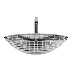 "Luxury ICE Oval Vessel Sink in Clear Hand Cut Crystal 20.7"" x 13.6"""