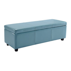 Simpli Home - Avalon Large Rectangular Blue Faux Leather Storage Ottoman Bench - Clutter and mess everywhere.  What you need is an tasteful, well made storage solution.   The Avalon Large Rectangular Storage Ottoman Bench is made from durable Blue Faux Leather and is the answer to all your needs.  This attractive ottoman is extra strong and durable and features a beautiful stiched leather exterior and large storage interior.  Whether you use this ottoman in your entryway, living room, family room, basement or bedroom, it will allow you to hide away all that mess.  This attractive ottoman comes in five colors - brown, black, cream, red and blue.