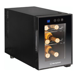 None - Westinghouse Thermal Electric 6-bottle Wine Cellar - Chill your wine while saving room in the fridge with this sleek thermal electric wine cellar by Westinghouse. This cellar is ideal for countertop use and is ultra quiet with a thermostat control with digital readout,perfect for red and white wines.