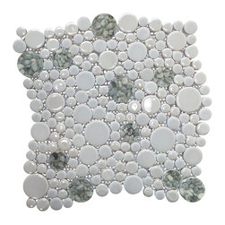"GL Stone - Bubble Mix Color Circle Mosaic tile, Light Grey with Nature Stone Inside - This circles mosaic tile is random round pieces on 12.0"" X 12.0"" mesh tile sheet. The circle mosaic comes with polished grey and nature stone inside. The bubble shaped mosaic is a great way to enhance the decor of interior project, such as bathroom floor,shower surround, kitchen floor, shower space, dining room, balcony floor,etc."