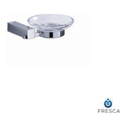 "Fresca - Fresca Ottimo Soap Dish - Chrome - Impress your guests with a Fresca Ottimo Soap Dish, part FAC0403. This uniquely styled item easily mounts in the tub or shower. The shower soap dish is made from heavy duty brass, and it has an attractive triple chrome finish. It also features a clear, offset deep oval dish that's thick and chip resistant. A sleek, minimalist design works well with modern decors. This brass soap dish measures W 5.5"" x D 5"" x H 1.5""."
