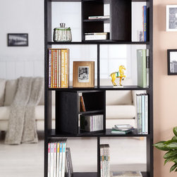 Furniture of America - Furniture of America Modern Swivel Blocks Bookcase/ Display Stand - A perfect addition to any room, this Enitial Lab bookcase features a matte black finish and has an open back. This bookcase showcases two cubby blocks with a divided shelf than can swivel 360 degrees.