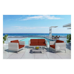 Ibis 4-Piece Modern Outdoor Sofa Set, Henna Cushions