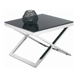 Sunpan Modern - Barrett End Table - This truly modern end table is constructed of heavy chrome finished steel with a 10mm tempered black glass top. The x-base gives this table a distinctive presence. Features: -Material: 10mm Tempered black glass.-X-base.-Frame: Chrome finished steel.-Please note that although every attempt has been made to ensure accuracy, all dimensions are approximate and colors may vary.-Barrett collection.-Collection: Barrett.-Distressed: No.Dimensions: -Overall Product Weight: 51 lbs.Warranty: -This item is deemed acceptable for both residential and nonresidential environments such as restaurants, hotels, lounges, offices and reception areas. Please note that this item carries the manufacturer's standard one year warranty from the date of purchase. Please contact Wayfair customer service or sales representatives for further information.