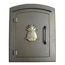 Qualarc, Inc. - Manchester Mailbox, Pineapple Logo, Bronze - This decorative cast aluminum mailbox insert can be matched with an optional newspaper holder or address plaque. The doors are sealed against the weather and its 22 gauge steel masonry box is electro-galvanized and powder coated to last.