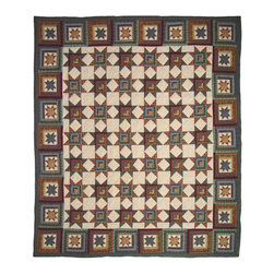 Patch Quilts - Cottage Star Quilt  Luxury King 120 x 106 Inch - Intricate patchwork and beautiful hand quilting  - Bedding ensemble from Patch Magic Patch Quilts - QLKCTSR