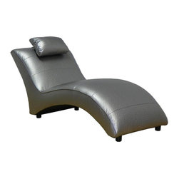 Chelsea Home - Chaise Lounge - Seating comfort: Medium. Seat cushion attached. Seat back cushion attached. Seat cushion is not reversible. No sag sinuous spring system used. Dacron wrapped 1.5 density foam cushions. Made from PVC and hardwood. Ostrich silver color. Made in USA. No assembly required. 64 in. L x 29 in. W x 30 in. H (75 lbs.)