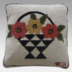 Thorndike Mills - Susan Branch A Day For Flowers Pillow - SB-0087 - Shop for Pillows from Hayneedle.com! The Susan Branch A Day For Flowers Pillow is sure to inspire smiles. Say it all with this extra-large extra-comfy pillow which features a flower basket design with a fun slogan. Hand-hooked from 100% luxurious wool at a rich density of 90 lines per square foot it's backed with soft velveteen and has a built-in 15-inch zipper for easy cleaning. The insert is made from durable firm yet cozy polyester fiber. This pillow measures 18L x 18W inches and is designed for indoor use in residential or commercial settings.About Thorndike MillsRooted in a proud Armenian family tradition Thorndike Mills developed in Boston during the first half of the 20th century. Their dedication to the quality traditions of Armenian rug-making remains true today. With an emphasis on exact specifications materials that meet high levels of quality and rigorous construction standards they're a top producer of braided rugs for homes and businesses across America. Thorndike Mills is the only manufacturer who still produces true cloth braided rugs made with three strands woven together and then wrapped; the next best option would be a handmade rug. The true quality of the rugs lies in the little details like hidden joints guaranteed color matching perfect symmetry of design and durable lock-stitch sewing. Thorndike Mills is still owned today by the third generation of the founding family.About Susan BranchSusan Branch is a self-taught artist from the Martha's Vineyard area who creates delicate organically inspired works that celebrate nature and simplicity. She has previously been featured in magazines including Country Living and American Patchwork and Quilting. Susan is best known for her beautiful watercolor illustration work which graces her 14 published books as well as a line of china stationery pajamas and her popular yearly calendar.