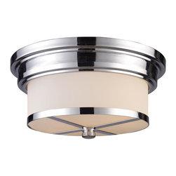 Joshua Marshal - Two Light Polished Chrome Drum Shade Flush Mount - Two Light Polished Chrome Drum Shade Flush Mount