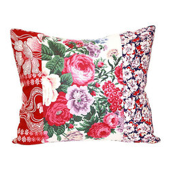 """Acapillow - Floral Patchwork Pillow - Just whisper the words """"vintage floral pillow"""" and see how many heads turn. The loveliness of a good old-fashioned floral textile only improves when paired with complimentary patterns. Part calico feed sack, part French floral, part 1940s design genius, this throw pillow is 100-percent gorgeous on the couch ... or hugged tightly in your arms."""