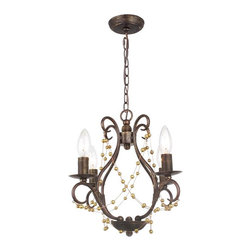 Angelina 4 Light English Bronze Pendant - This beautiful Angelina 4 Light English Bronze Pendant is a perfect addition to any room. Featuring a wrought iron base with an english bronze finish and lots of hand polished crystals!