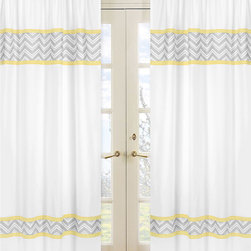 Sweet Jojo Designs - Yellow and Grey Zig Zag 84-inch Curtain Panel Pair - Create a special look for any window with this pretty curtain panel pair from Sweet JoJo Designs. These 84-inch curtains feature a subtle yet interesting zigzag design that perfectly complements the soft white background and enhances your room.