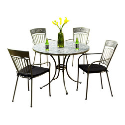 Home Styles - Home Styles Glen Rock 5 Piece Outdoor Dining Set in Gray - Home Styles - Patio Dining Sets - 5607308 - A swirling dark palette of blacks & grays create a contemporary look resembling the city skyline. Perfect for any setting...versatile enough for indoor use but built to sustain outdoor elements. Glen Rock Marble 5 Piece Dining Set by Home Styles is constructed of powder-coated steel frame in a gray finish with hand-crafted tumbled marble square tiles in a natural occurring gray variation; No two tables alike! The table top features a 2-inch umbrella hole with cap. The base features a graceful cabriole design and adjustable nylon glides to prevent damage to surfaces caused by movement and provide stability on uneven surfaces. The arm chairs feature dim gray two-tie weather resistant woven polyester cushions and nylon glides.