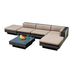 Great Deal Furniture - Santa Maria Outdoor Sectional Sofa Set - Modern and functional, you'll enjoy ample seating options for guests and family with multi-seat sectional sofa and a coffee table Santa Maria Outdoor Sectional Sofa Set has to offer. Bring your wine or iced tea and enjoy those luxurious evening hours the spring and summer months offer. The back and seat cushions are soft and comfortable and covered with weather-proof fabric. It's a must-have for those who love the more relaxing side of being outdoors.