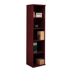 "Bush Business - 5-Shelf Book Tower in Mahogany - Series C - This stylish Mahogany Series C Open Single Bookcase will enhance any office setting with its sleek lines and rich tone! The 71 inch tall bookcase is crafted with care, featuring two fixed shelves for stability and three adjustable shelves for flexibility. Five shelf styling on our mahogany book towers gives you plenty of space for display. They'll add presence to a home or office with their versatile shelving options and rich, inviting finish. Open bookshelves also let you rearrange to create an instant new look. * Two fixed shelves for stability. Three adjustable shelves for flexibility. Matches 71"" Hutch in height and depth. Ships ready for easy assembly17.835 in. W x 15.354 in. D x 72.834 in. H"