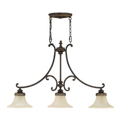 Drawing Room Collection - 3 Light Island Chandelier - Walnut - Item Weight: 15.4