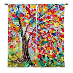 """DiaNoche Designs - Window Curtains Lined by Karen Tarlton Poetry of a Tree - Purchasing window curtains just got easier and better! Create a designer look to any of your living spaces with our decorative and unique """"Lined Window Curtains."""" Perfect for the living room, dining room or bedroom, these artistic curtains are an easy and inexpensive way to add color and style when decorating your home.  This is a woven poly material that filters outside light and creates a privacy barrier.  Each package includes two easy-to-hang, 3 inch diameter pole-pocket curtain panels.  The width listed is the total measurement of the two panels.  Curtain rod sold separately. Easy care, machine wash cold, tumble dry low, iron low if needed.  Printed in the USA."""