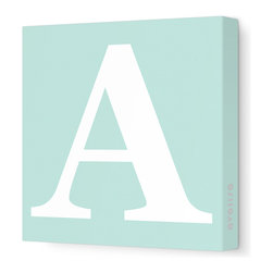 "Avalisa - Letter - Upper Case 'A' Stretched Wall Art, Sea Green, 12"" x 12"" - Spell it out loud. These uppercase letters on stretched canvas would look wonderful in a nursery touting your little one's name, but don't stop there; they could work most anywhere in the home you'd like to add some playful text to the walls. Mix and match colors for a truly fun feel or stick to one color for a more uniform look."