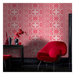 Graham & Brown - Isabella Wallpaper - Embodying large-scale Celtic motifs against a backdrop of Tartan, Isabella is a trendsetting statement design. Be bold with the intricate red wallpaper design. The product is paste the wall so hangs in half the time of normal decorating.