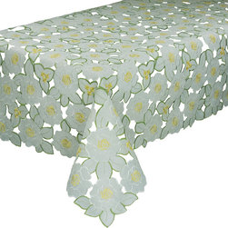 Xia Home Fashions - Dainty Flowers 70-Inch By 70-Inch Tablecloth - Embroidered florals adorn this delicately beautiful cutwork sheer linens collection. Lovely as an everyday accent and great for tea time!