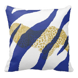 Tomova Jai Designs - Leopard Covered Zebra Decorative Pillow, Dazzling Blue and White - Who says zebras and leopards can lounge together? Well at least with this pillow they can.  Beautifully designed with colorful zebra pattern with a beautiful leopard graphic centered across the front, this decorative piece will catch they eye everyone.