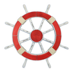 "Handcrafted Nautical Decor - Rustic Red Ship Wheel 18"" - Beach Bedroom Decorating Ideas - This Rustic Red Ship Wheel 18"" combines a vintage finish and precise craftsmanship to create a timeless piece of nautical wall art. Using traditional clean nautical red and white finish, we have further accented the vintage ship wheel with rope."