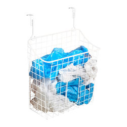 Spectrum Diversified Designs - Overcabinet Trash Bag Holder - White - Hold the bag! Yep, hold those unruly trash bags and keep them out of the way with our white Over the Door Grid Trash Bag Holder. Can also be used as an over the cabinet trash bin. Super smart.